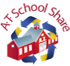 Logo: A.T. School Share. Shows school house surrounded by recycling arrows.